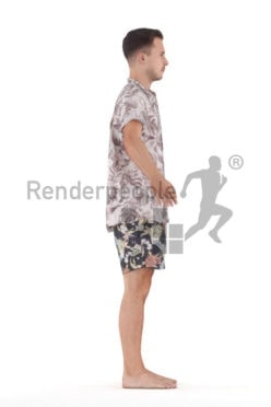 Posed 3D People model by Renderpeople – european male in relaxed summer look,. beachwear