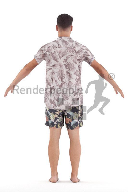 Posed 3D People model by Renderpeople – european male in relaxed summer look,. beachwear