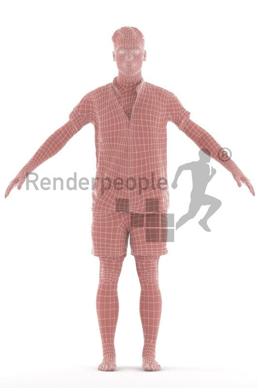 Rigged 3D People model by Renderpeople – european male in relaxed summer look,. beachwear