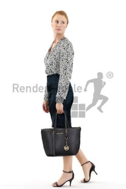 3d people shopping, white 3d woman carrying her purse