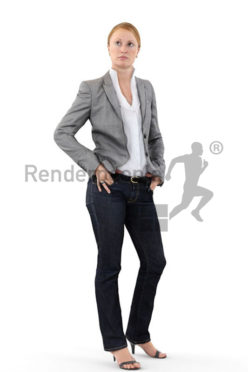 3d people business, white 3d woman in her casual friday outfit