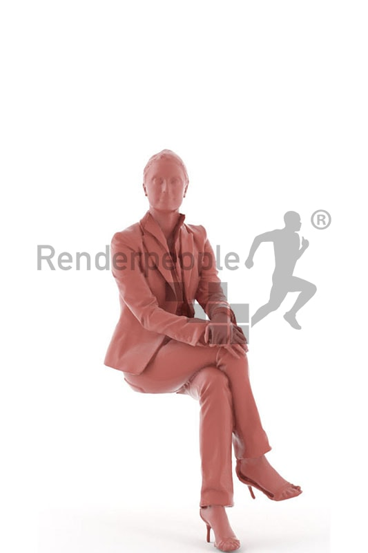 3d people business, white 3d woman in her casual friday outfit sitting