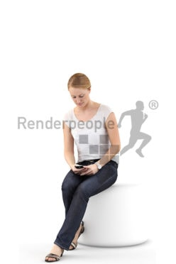 3d people casual, white 3d woman sitting and typing on her phone