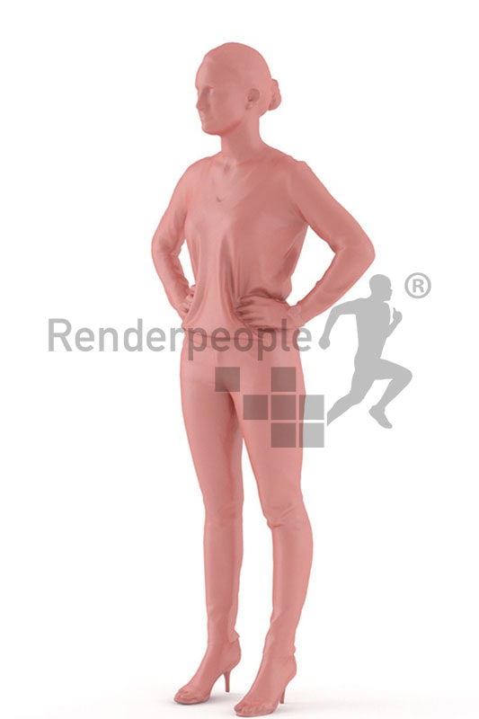 3d people casual, white 3d woman standing with her arms in her hips