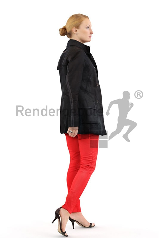 3d people outdoor, white 3d woman in red pants walking