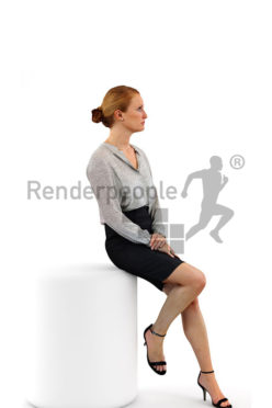 3d people business, white 3d woman sitting and listening