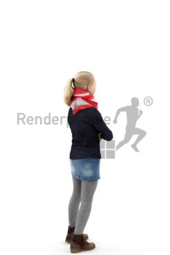 3d people kids, white 3d child standing with her arms folded
