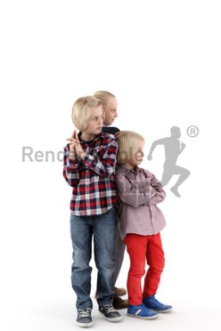 3d people kids, white 3d children playing