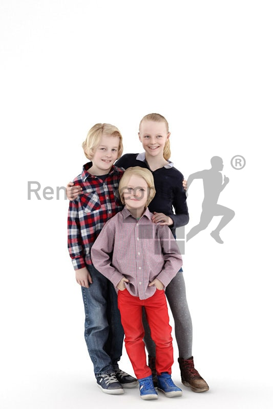3d people kids, white 3d children posing for a photo