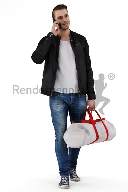 3d people casual, white 3d man on the way to the gym talking on the phone