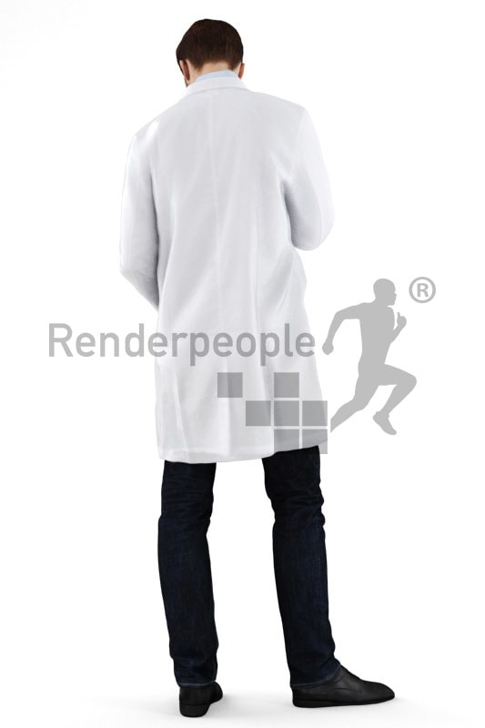 3d people hospital, white 3d doctor looking at his tablet