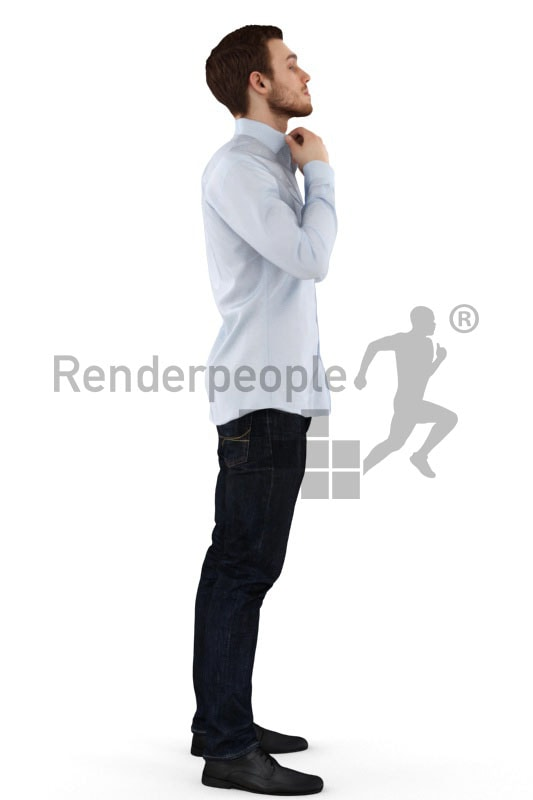 3d people business, white 3d man standing in front of a mirror