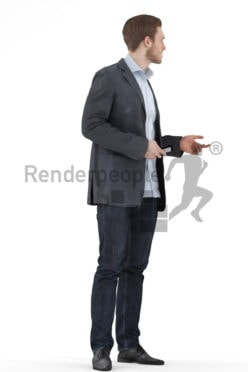 3d people casual, white 3d man standing and holding his phone