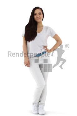 3d people service, friendly 3d woman wearing white pants and a white shirt