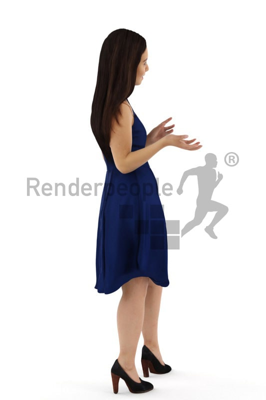3d people event, nicely dressed 3d woman wearing a fancy blue dress
