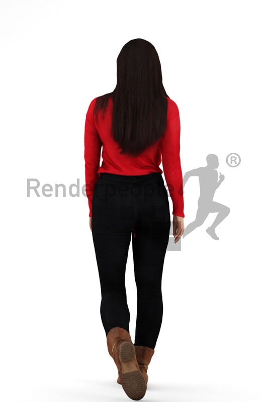 3d people casual, southern 3d woman walking