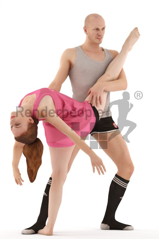 3d people sports, white 3d couple doing ballet