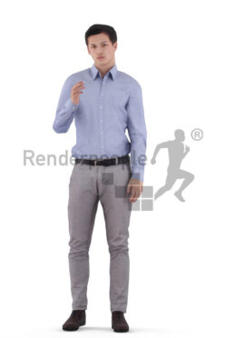 Animated 3D People model for visualization – european male in business look, talking