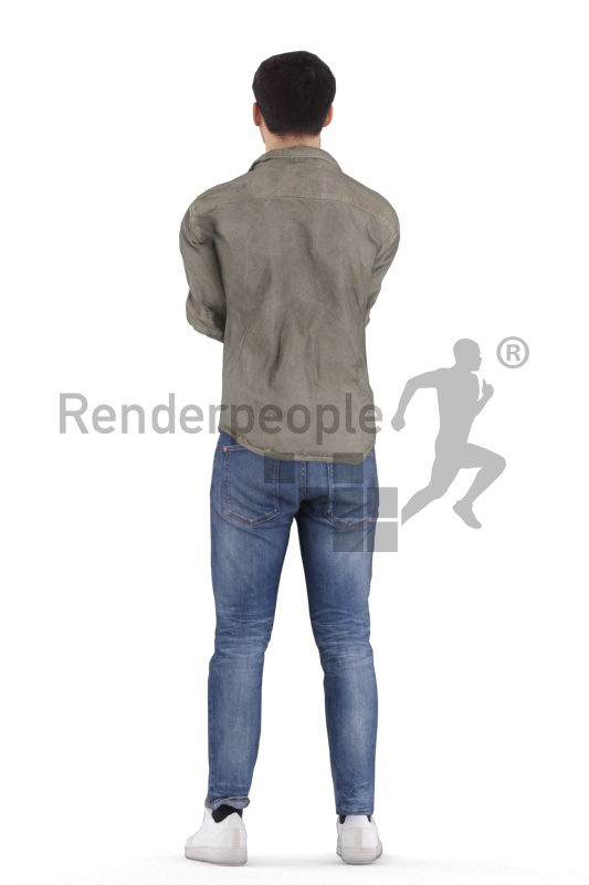 Animated 3D People model for visualization – european man, casual clothing, standing