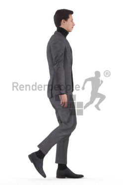 Animated 3D People model for 3ds Max and Maya – european man in business look, walking