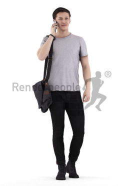 Posed 3D People model by Renderpeople – european man in casual campus look, walking and calling