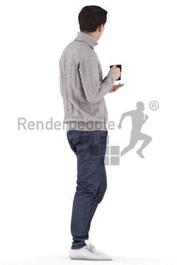 Scanned human 3D model by Renderpeople – european man in winter outfit, talking while holding a cup