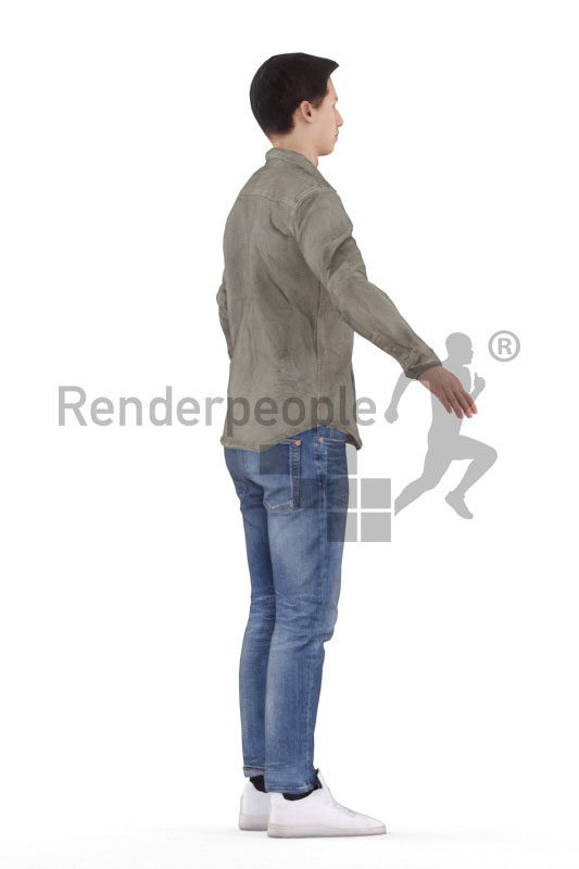 3d people casual, white 3d man rigged