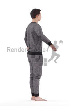 3d people sleepwear, white 3d man rigged