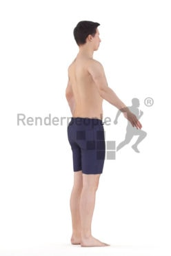 3d people beach/pool, white 3d man rigged