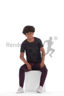 Animated 3D People model for 3ds Max and Maya – black teenager in casual clothes, sitting