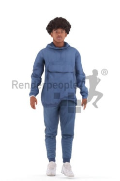 Animated 3D People model for 3ds Max and Maya – black teenager in casual look, walking