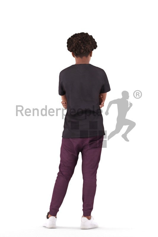 Scanned 3D People model for visualization – black teenager in casual sporty look