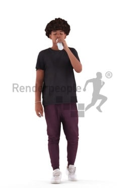 Scanned human 3D model by Renderpeople – black teenager in casual clothes, walking while drinking