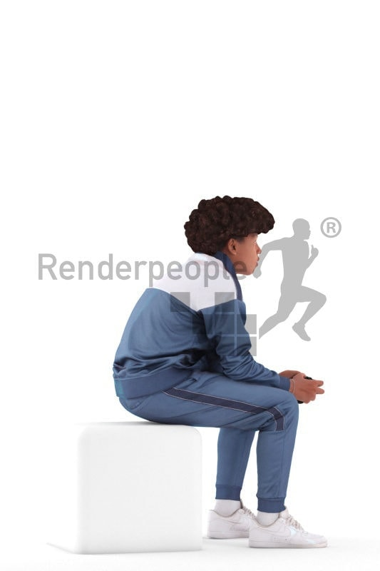 3D People model for 3ds Max and Blender – black teenager in homewear, sitting and playing video games