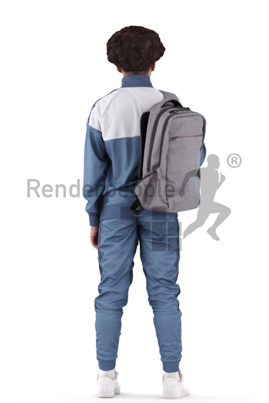 3D People model for 3ds Max and Maya – black teenager in casual clothes, standing with a backpack