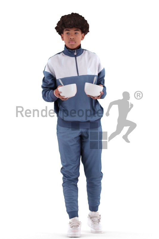 3D People model for 3ds Max and Maya – black teenager in casual clothes, holding two bowls of cornflakes