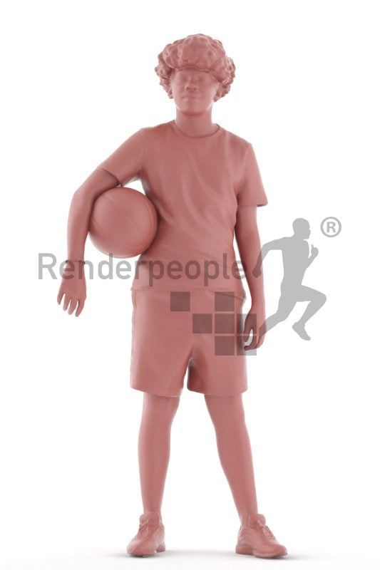 Posed 3D People model for renderings – black teenager in sports outfit, standing with a basketball underneath his arm