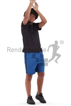 Posed 3D People model for renderings – black teenager in sports outfit, throwhing the ball in the basket