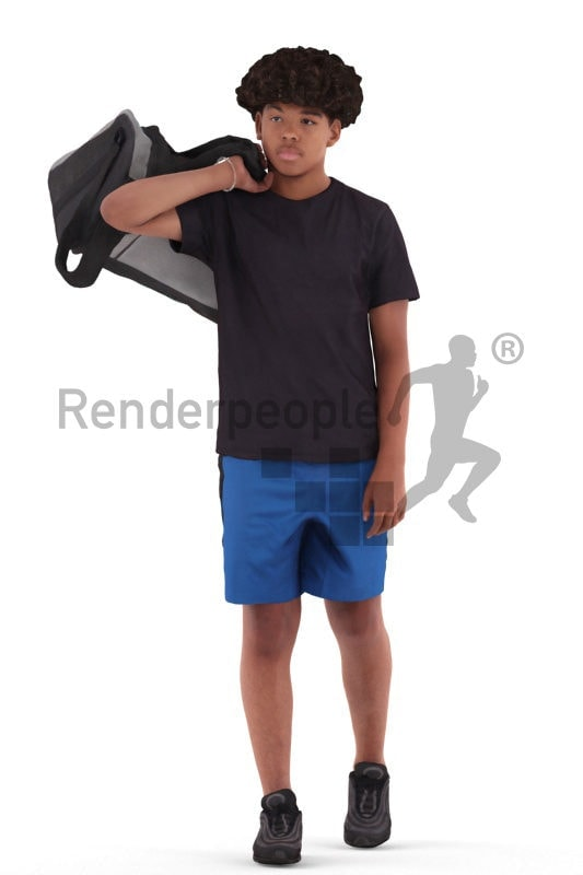 Scanned 3D People model for visualization – black teenager in sports clothing, carrying his sportsbag