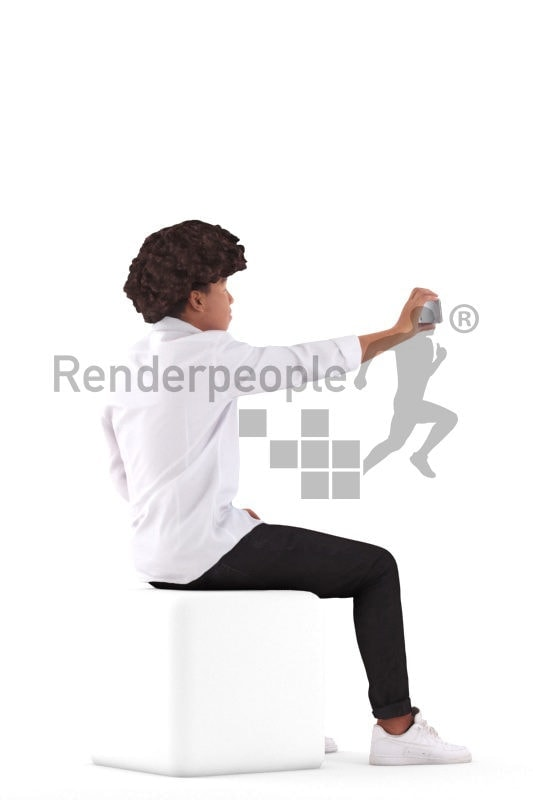Photorealistic 3D People model by Renderpeople – black boy in a chic shirt, sitting and taking a selfie with his mobilephone