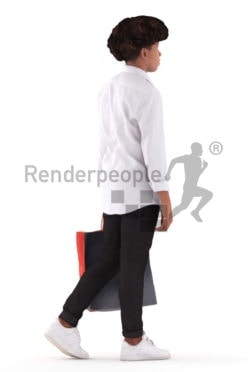 Photorealistic 3D People model by Renderpeople – black boy in a chic shirt, walking with a paperbag