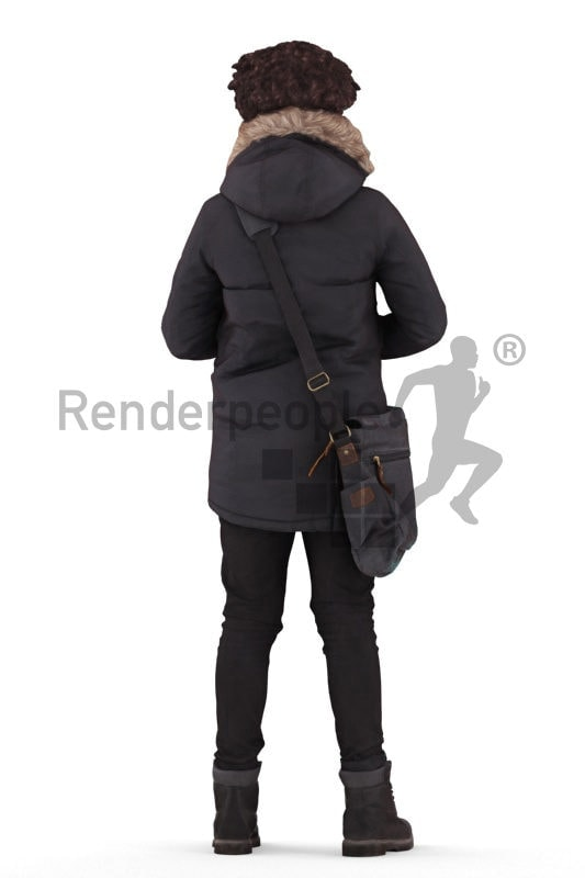 Photorealistic 3D People model by Renderpeople – black boy in winter outdoor look, standing with a bag