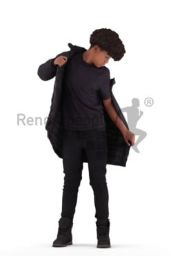Posed 3D People model by Renderpeople – black teenager pulling on his jacket
