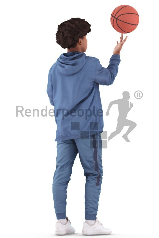 Posed 3D People model by Renderpeople – black teenager in street clothes, playing with a basketball, doing tricks