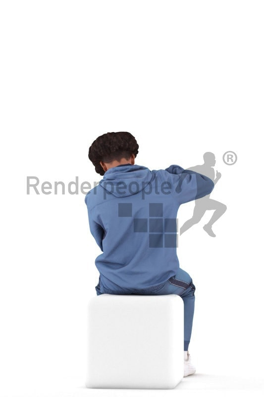 Posed 3D People model by Renderpeople – african teenager pumping up a ball