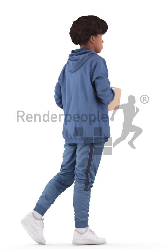 Photorealistic 3D People model by Renderpeople – black teeanager in casual hoodie, carrying a package