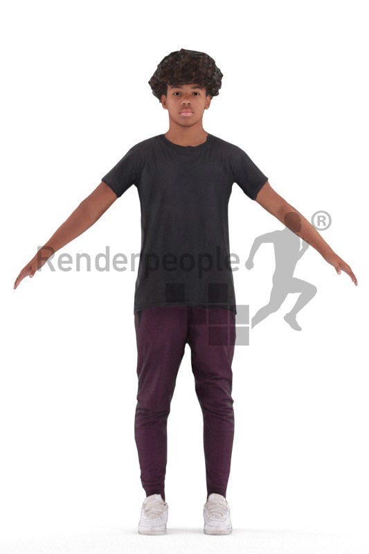 Rigged human 3D model by Renderpeople – black teenager/boy in daily clothes