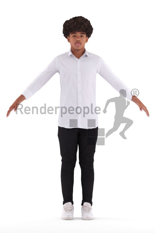 Rigged and retopologized 3D People model – black teenager in a casual shirt
