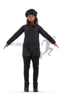 Rigged human 3D model by Renderpeople – black teenager in outdoor look