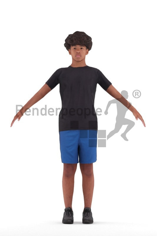 Rigged 3D People model for Maya and 3ds Max – black teenager, in sports clothing